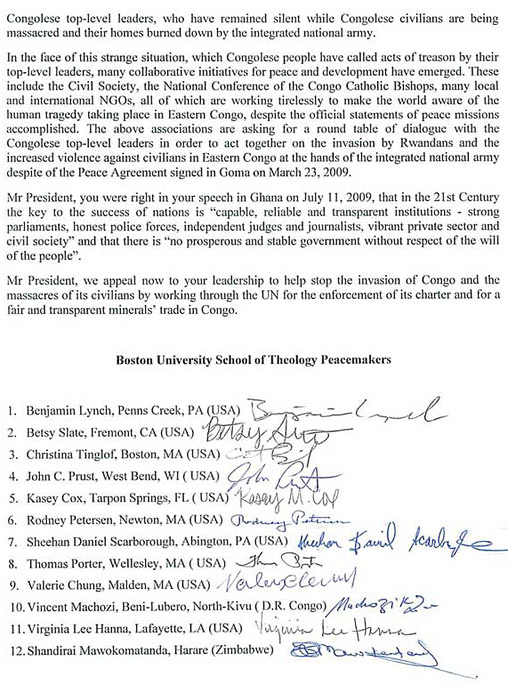 Letter of BU School of Theology Peacemakers to Barack Obama, President of U.S.A.