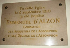 Plaque in the parish church of St. Peter's in Le Vigan