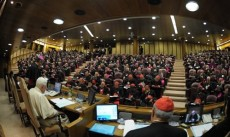 Pope Benedict attending a session of the synod