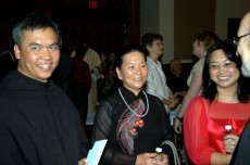 Br. Dinh with his sister and mother after his ordination to the diaconate