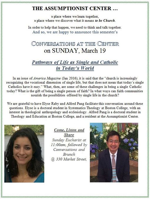 Conversations at the Assumptionist Center - March 19, 2017