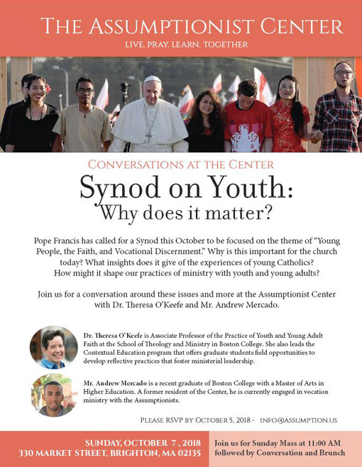 CONVERSATIONS AT THE CENTER - SYNOD ON YOUTH: WHY DOES IT MATTER?
