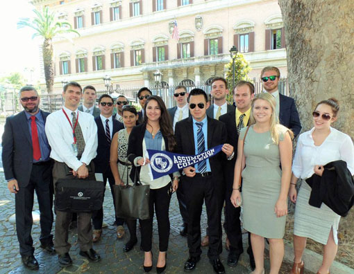 A group of Assumption MBA students spent a month in Italy, including at the College's Rome Campus, studying international business practices.
